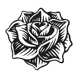 Rose head vintage tattoo