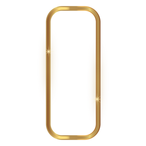 Rounded rectangle golden frame Transparent PNG