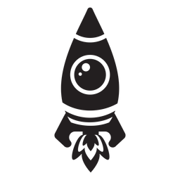 Simplistic Weltraumrakete flach Symbol
