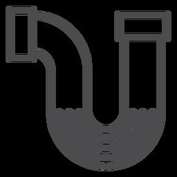 Icono de trazo del tubo del fregadero