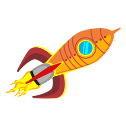 Weltraumrakete-Cartoon-Ikone