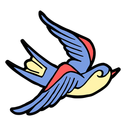 Schlucken Sie Vogelweinlesetätowierung