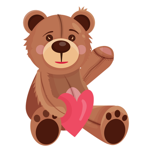 Teddy bear holding heart Transparent PNG
