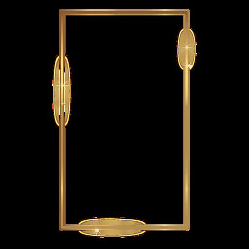 Retângulo fino moldura dourada Transparent PNG