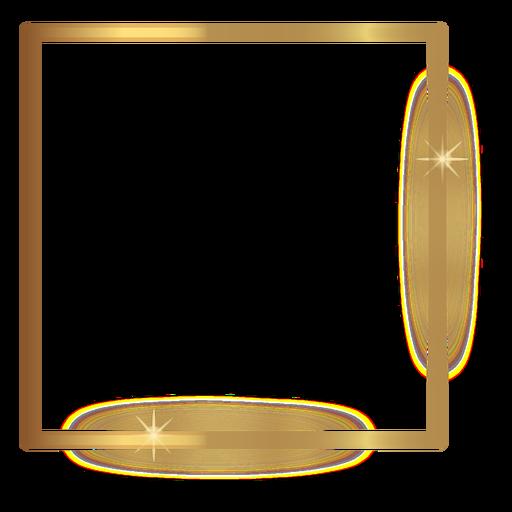 Thin square golden frame Transparent PNG
