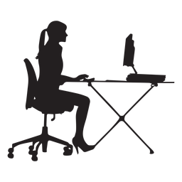 Woman sitting at computer desk silhouette