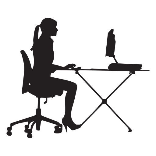 Woman sitting at computer desk silhouette Transparent PNG