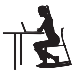 Woman sitting at desk silhouette
