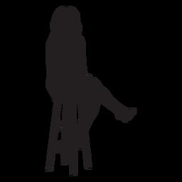 Mulher, sentando, barzinhos, tamborete, silueta