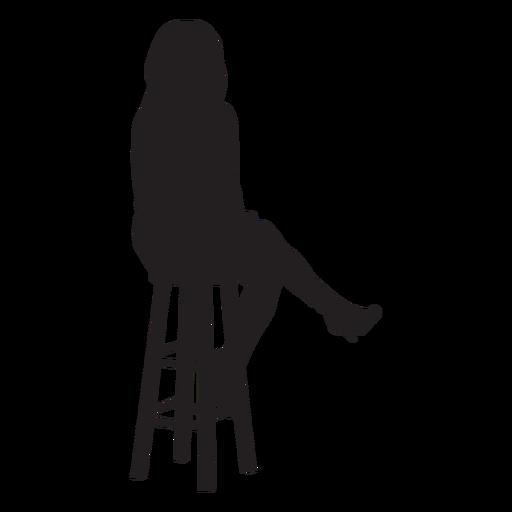 Mujer sentada en taburete de bar silueta Transparent PNG