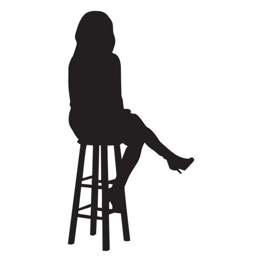 Woman sitting on bar stool silhouette Transparent PNG