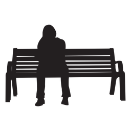 Mujer, sentado, en, banco, silueta