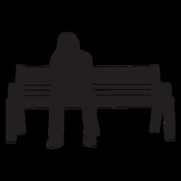 Mulher, sentando, ligado, banco, silueta