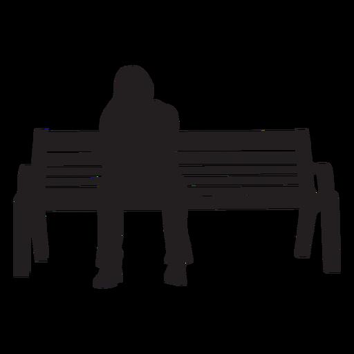 Mujer sentado en banco silueta