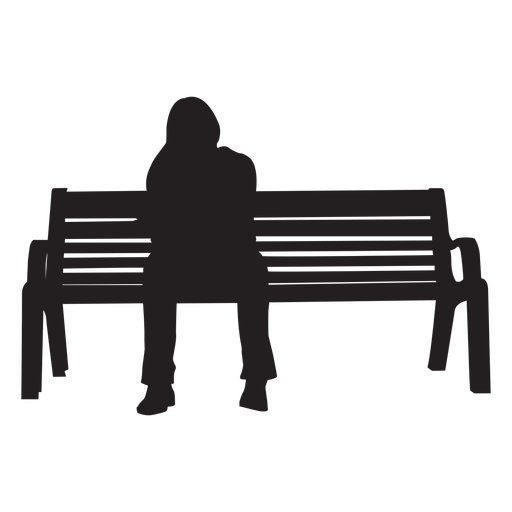 Woman sitting on bench silhouette Transparent PNG