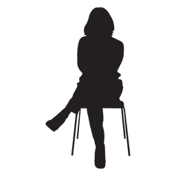 Mujer, sentado, en, silla, silueta