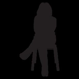 Mulher, sentando, ligado, cadeira, silueta