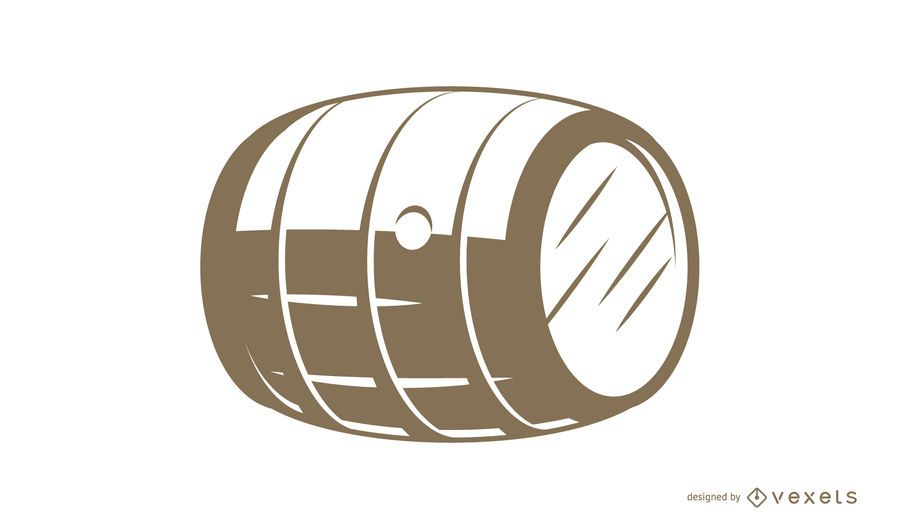 Wooden barrel flat vector