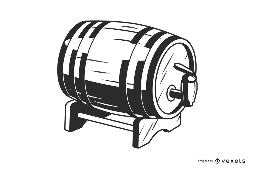 Wooden barrel with tap vector