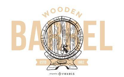 Design de logotipo de barril de madeira