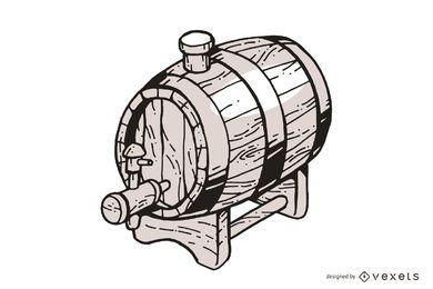 Barril de madeira desenhada de mão