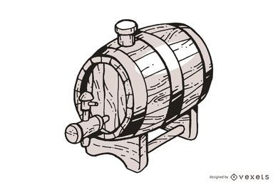 Hand drawn wooden barrel