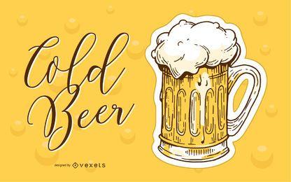 Cerveja gelada mão ilustrações desenhadas