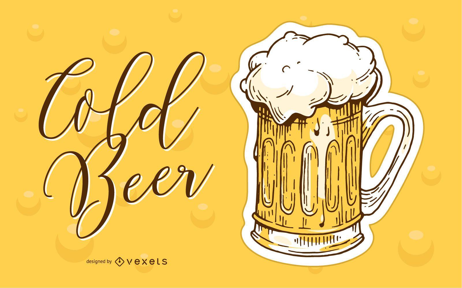 Ilustração desenhada à mão para cerveja gelada