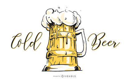Jarra de cerveza fría ilustradora