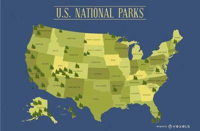 Mapa de parques nacionales de Estados Unidos