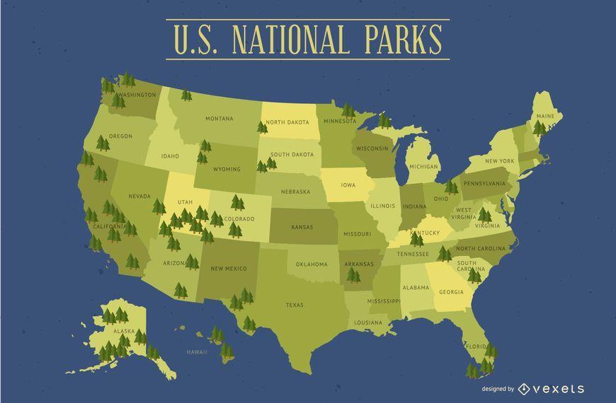 Mapa dos Parques Nacionais dos Estados Unidos