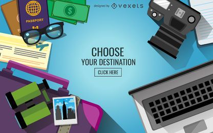 Escolha o seu banner de viagens de destino