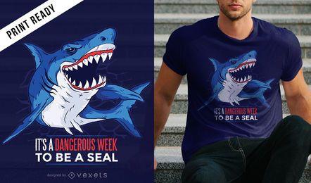 Diseño de la camiseta de la cita del tiburón