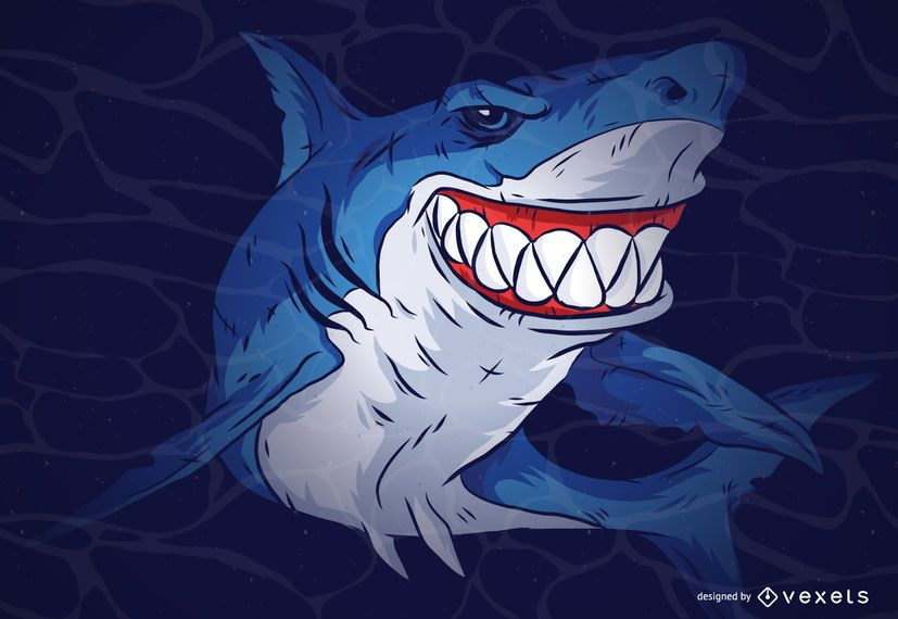 Ilustração dos desenhos animados de tubarão