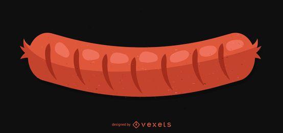 Ilustração de salsicha grelhada