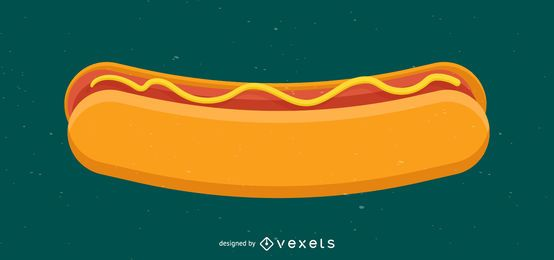 Ilustración de salchicha de perro caliente