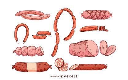 Conjunto de ícones de salsicha e salame