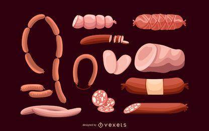 Salsicha e salame conjunto de ilustração