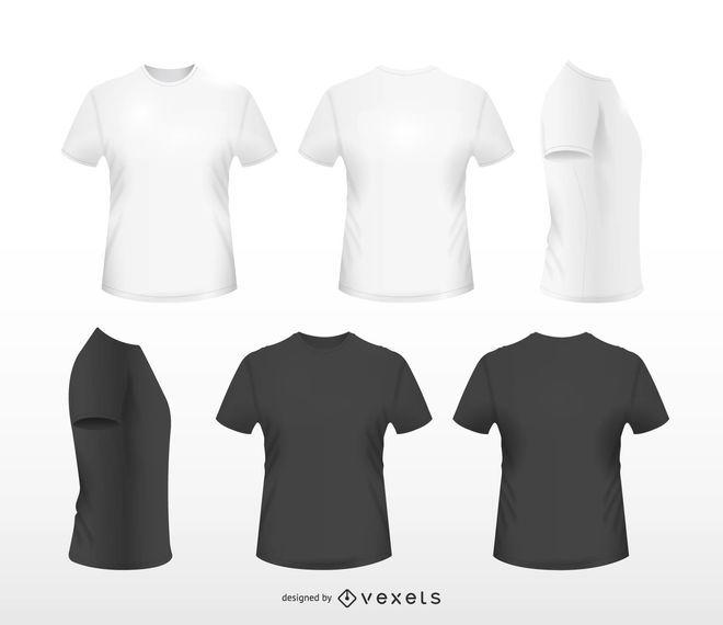 Set de camisetas realistas.
