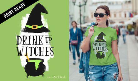 Beba até design de t-shirt de bruxas