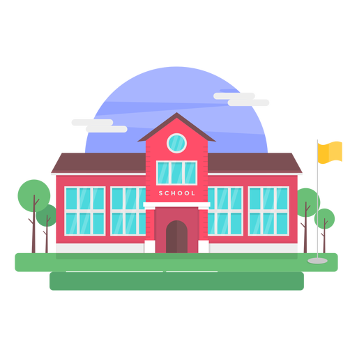 Classical school building illustration