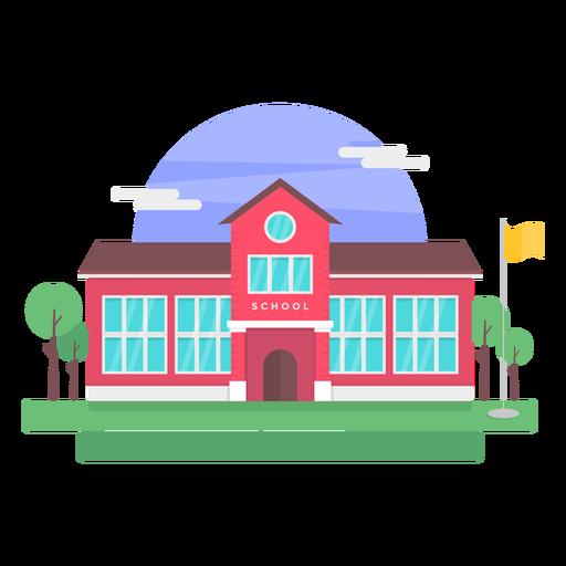 Ilustración de edificio de escuela clásica