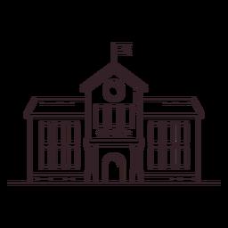 Icono de trazo de edificio de escuela clásica