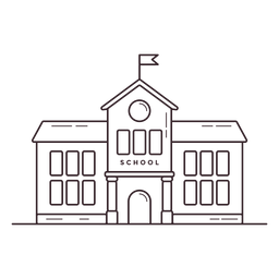 Klassische Schule Gebäude Schlaganfall Symbol