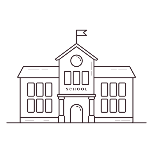 Classical school building stroke icon Transparent PNG