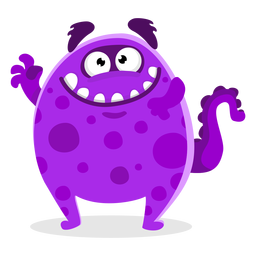 Cute monster waving illustration