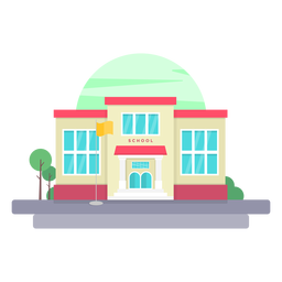Elementary school building illustration