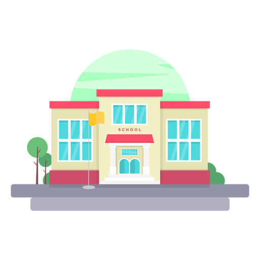Elementary school building illustration Transparent PNG