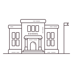 Icono de trazo de edificio de escuela primaria