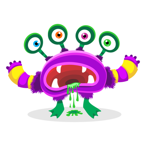 Four eyed monster illustration Transparent PNG